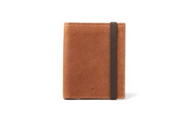 Passport Holder in Grained brown leather