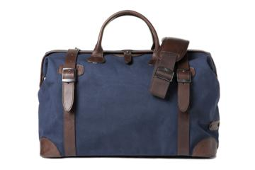 DOCTOR BAG QUIFF in Blue canvas & dark brown leather