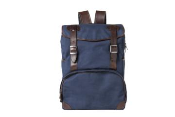 BACKPACK MOP TOP in Blue canvas & dark brown leather