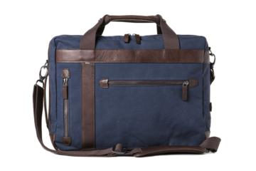 CONVERTIBLE BAG UNDERCUT in Blue canvas & dark brown leather