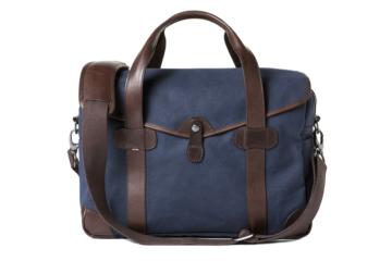 MEDIUM MESSENGER BOB CUT in Blue canvas & dark brown leather