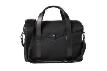 MEDIUM MESSENGER BOB CUT in Black cordura and leather