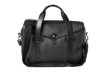 MEDIUM MESSENGER BOB CUT in Grained black leather
