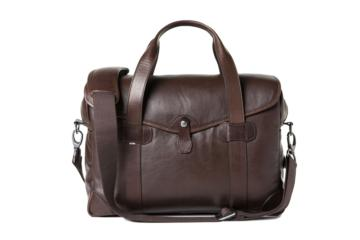 MEDIUM MESSENGER BOB CUT in Dark brown leather