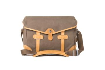SMALL MESSENGER PAGEBOY in Canvas e pelle marrone