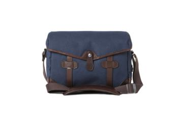 SMALL MESSENGER PAGEBOY in Canvas blu e pelle testa di moro