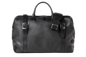 DOCTOR BAG QUIFF in Grained black leather