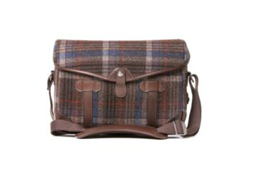 SMALL MESSENGER PAGEBOY in Tweed e pelle testa di moro