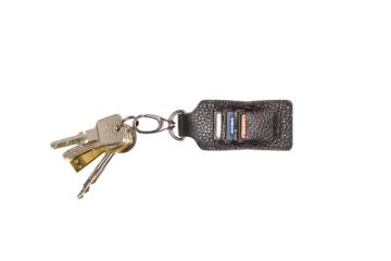 LEATHER KEY RING CLIPPER in Black leather