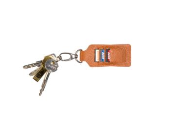 LEATHER KEY RING CLIPPER in Grained brown leather