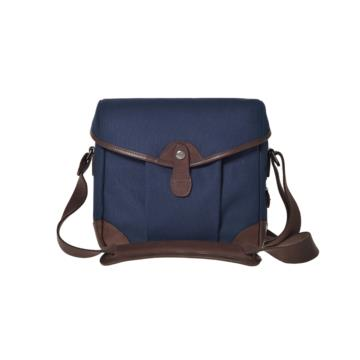 Small Messenger Smart Bob in Blue canvas & dark brown leather