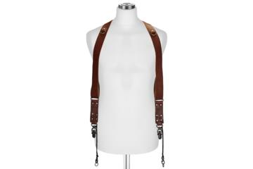 CROSS BODY STRAP SIDEBURNS  size L in Dark Brown Bull Leather