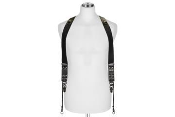 CROSS BODY STRAP SIDEBURNS  size L in Black Bull Leather