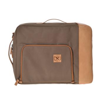 CONVERTIBLE BAG UNDERCUT in Brown canvas and leather